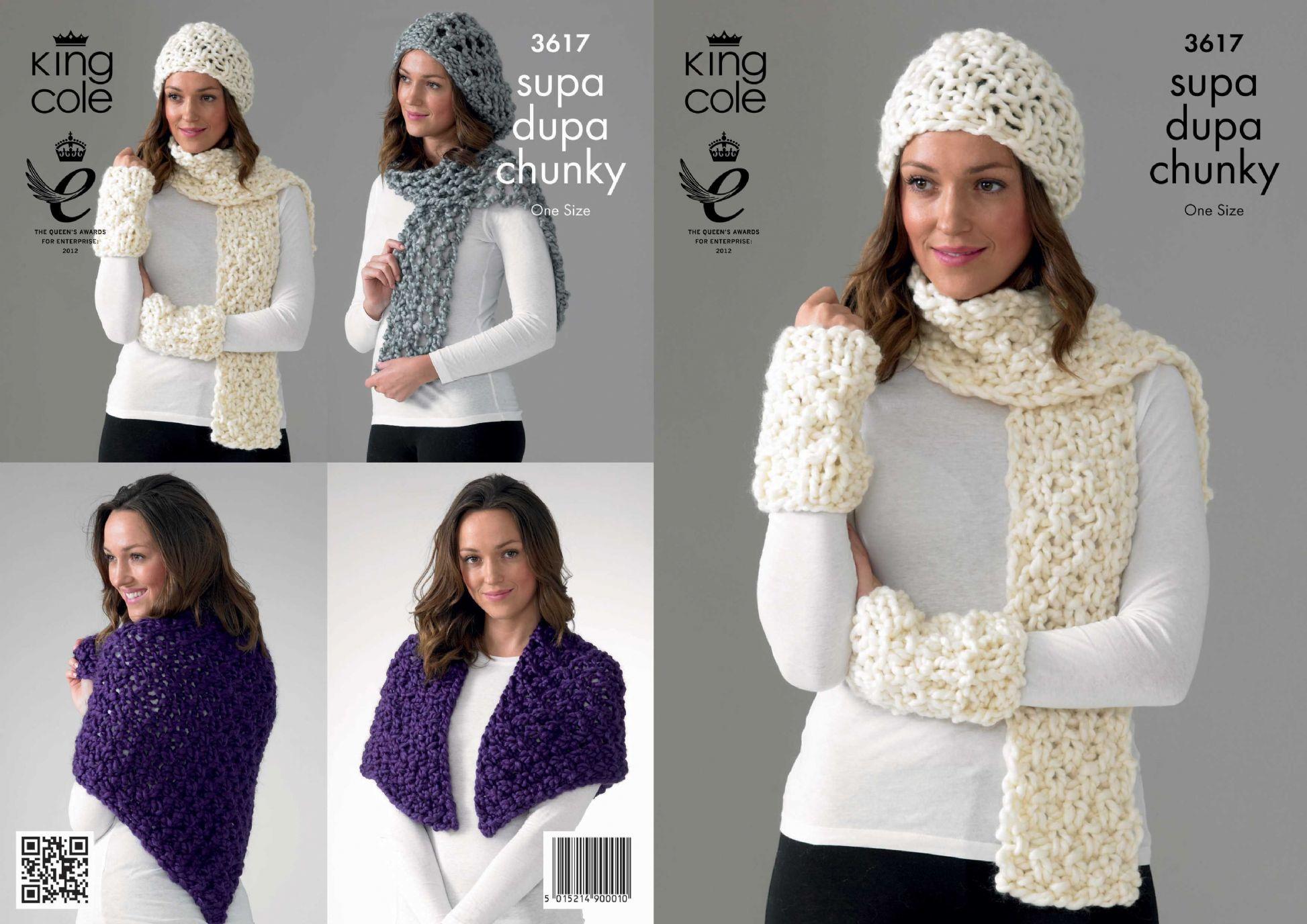 3617 King Cole Supa Dupa Chunky Hat Scarf Wrap Knitting Pattern
