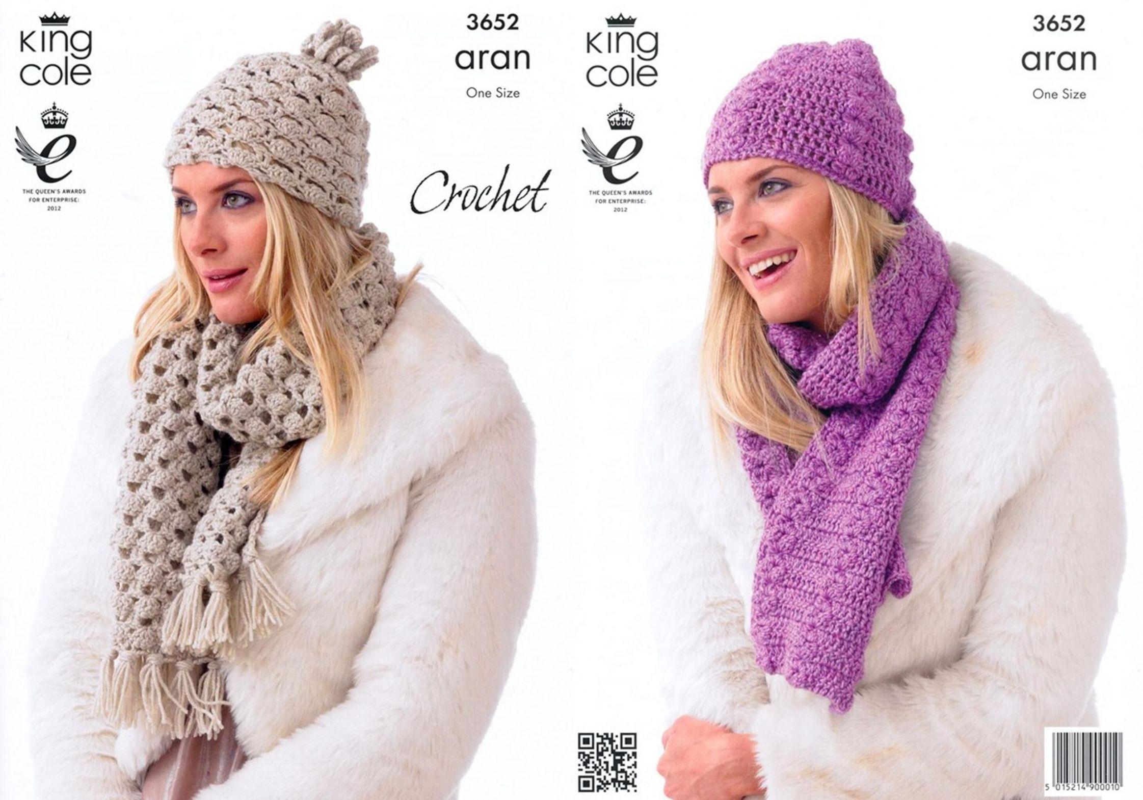 3652 King Cole Fashion Aran Hat Scarf Crochet Pattern One Size
