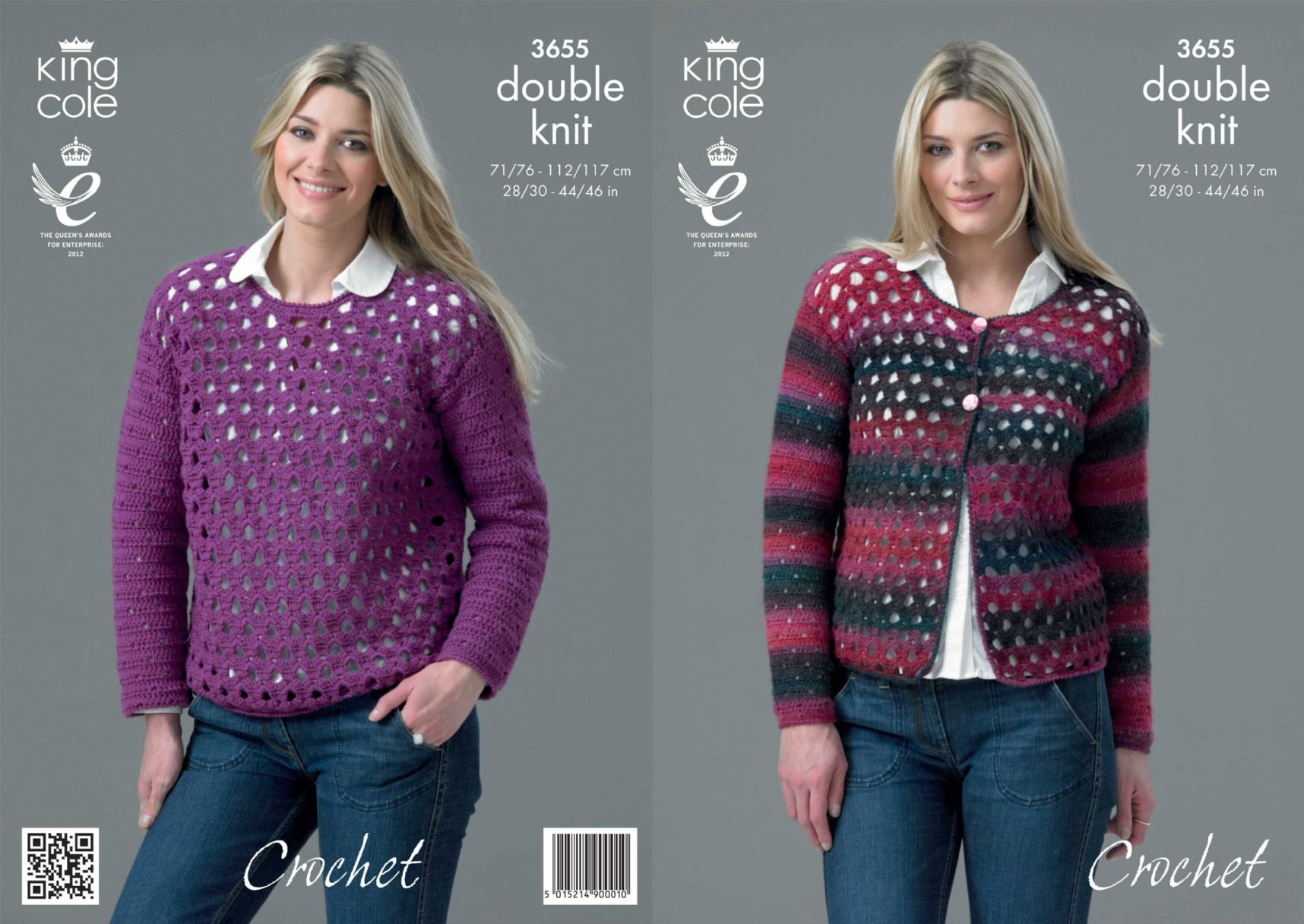 3655 - KING COLE RIOT DK CARDIGAN & SWEATER CROCHET PATTERN - TO FIT ...