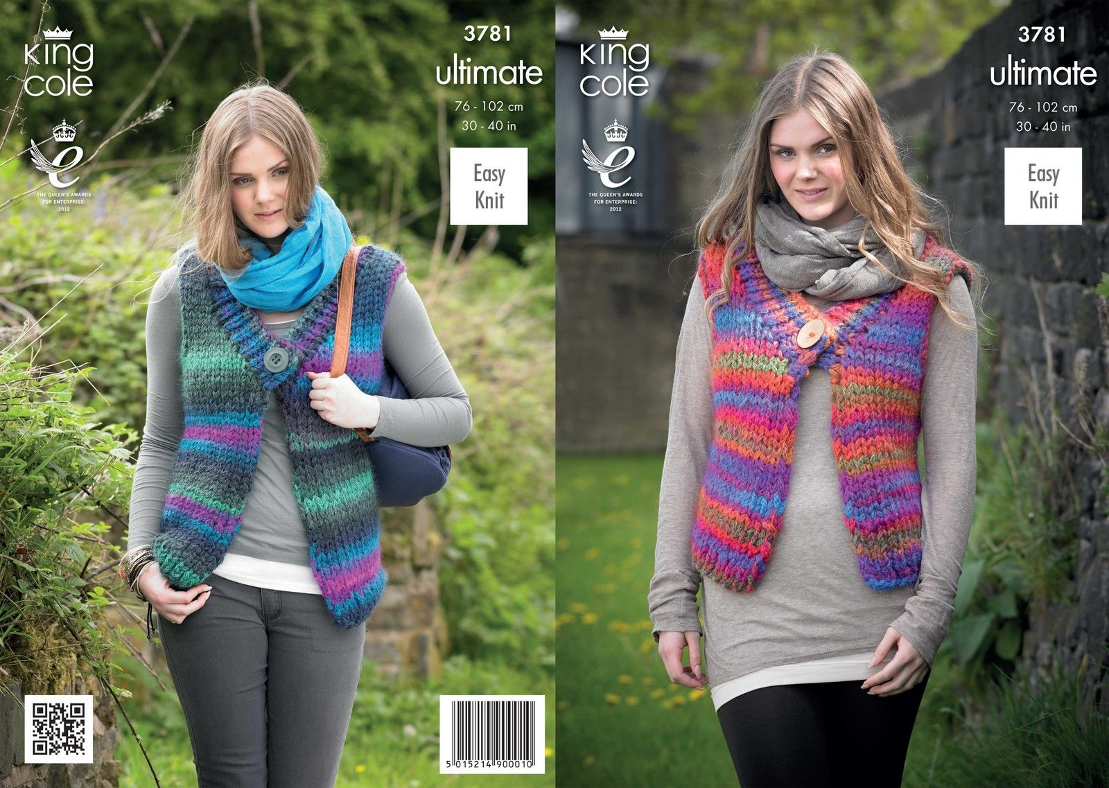 4ed02cf6a 3781 - KING COLE ULTIMATE EASY KNIT SUPER CHUNKY WAISTCOAT KNITTING PATTERN  - TO FIT 30 TO 40