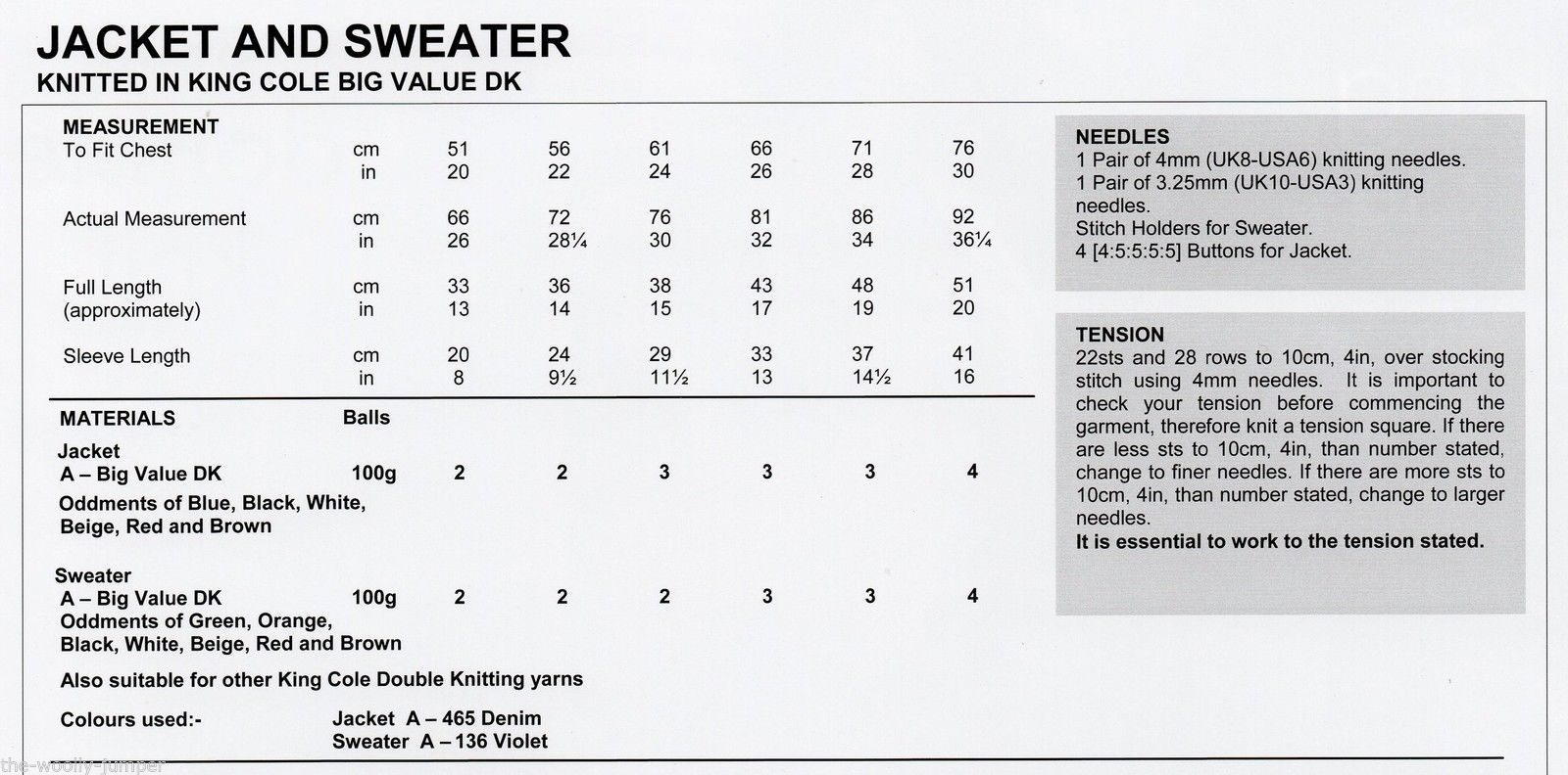 Knitting Pattern Chest Sizes : 3808 - KING COLE BIG VALUE DK JACKET & SWEATER KNITTING PATTERN - TO FIT ...