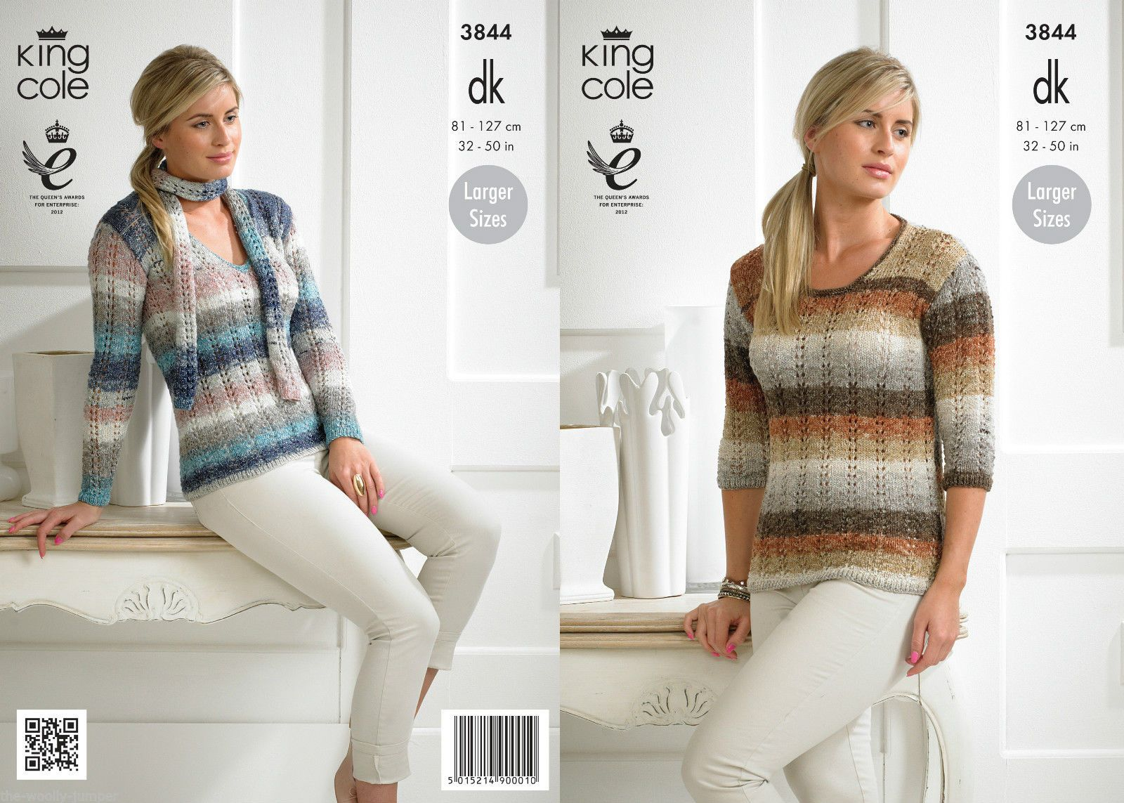 Knitting Pattern Chest Sizes : 3844 - KING COLE SHINE DK SWEATER & SCARF KNITTING PATTERN - TO FIT CHEST...