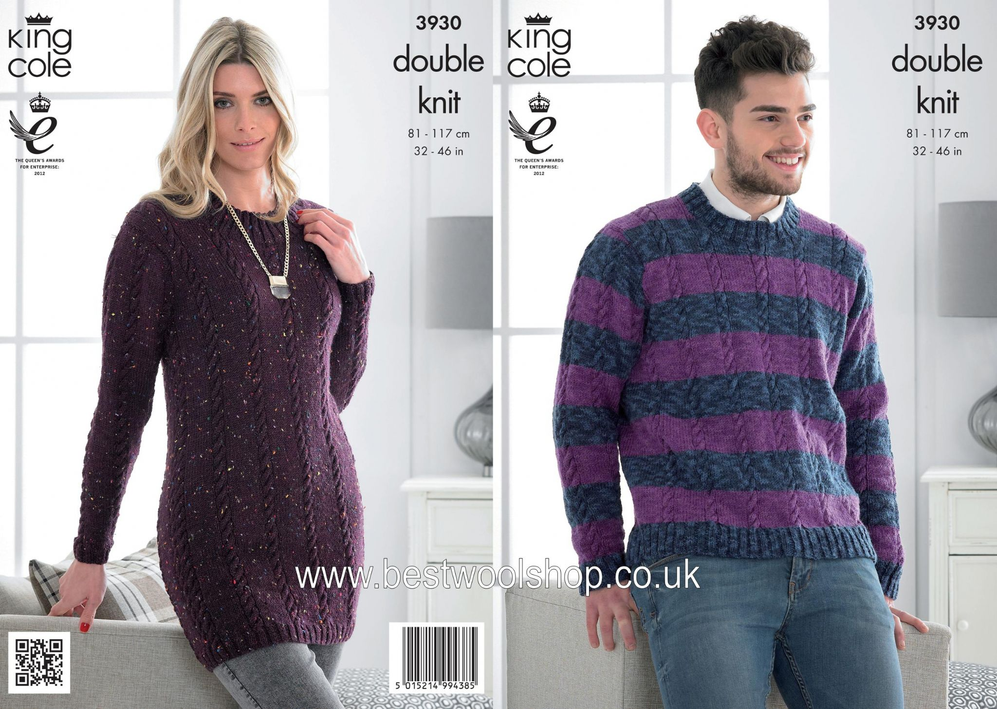 3930 - KING COLE MOODS DK MENS SWEATER & LADIES SWEATER DRESS TUNIC ...