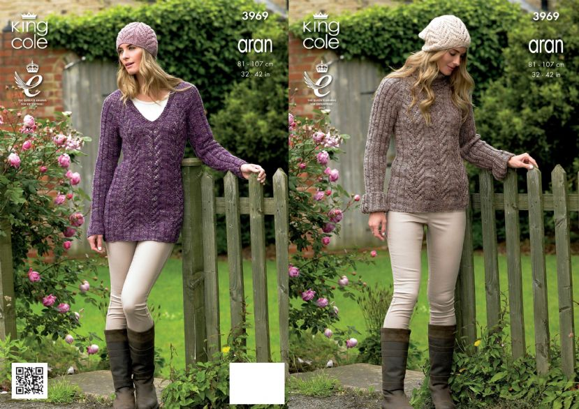 3969 - KING COLE MOORLAND & FASHION ARAN TUNIC SWEATER & HAT ...