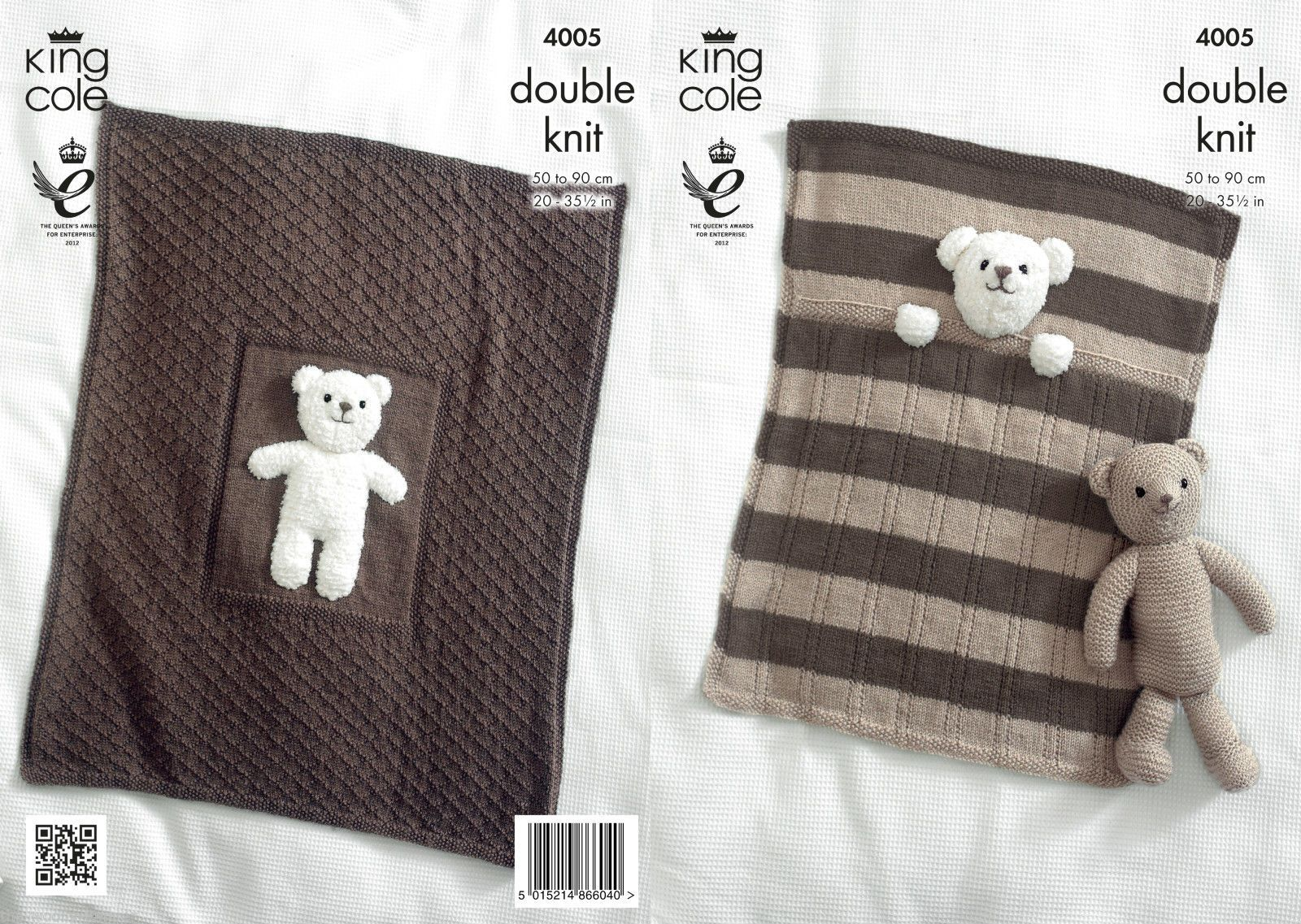 4005 - KING COLE COMFORT DK COT & PRAM BLANKET & TEDDY BEAR TOY ...
