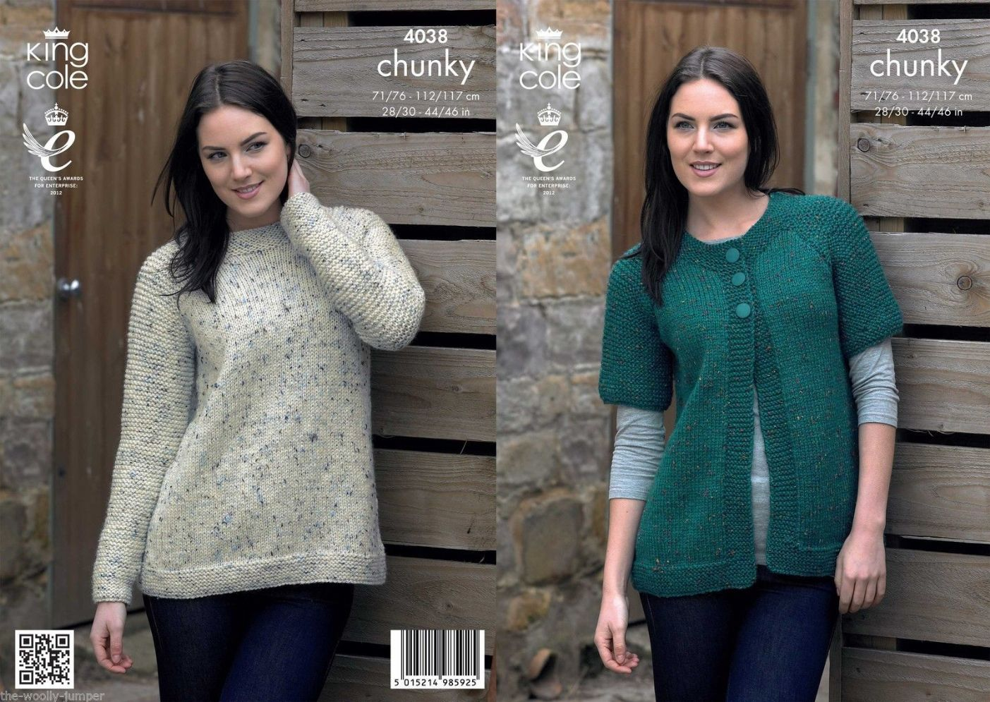 8c90d4e9894b 4038 - KING COLE CHUNKY TWEED CARDIGAN   SWEATER KNITTING PATTERN - 28 TO 46