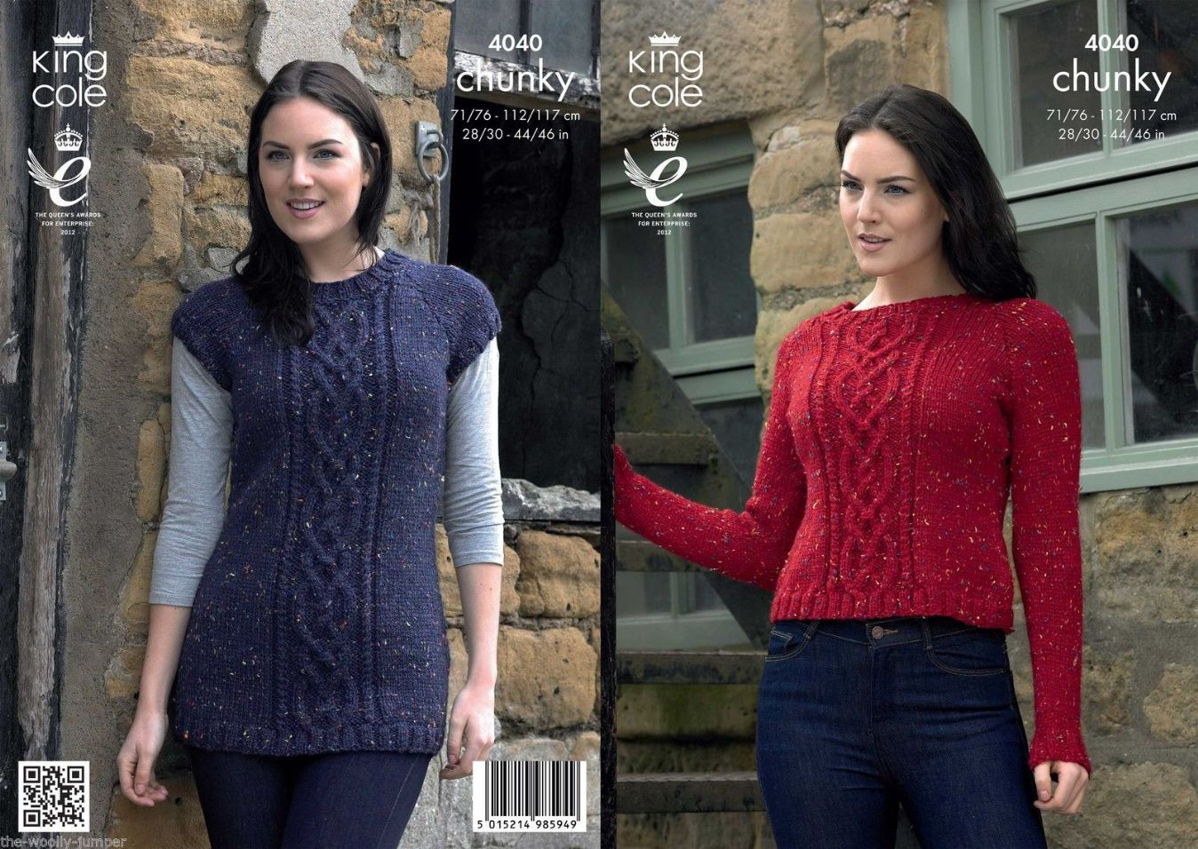 ad9964535 4040 - KING COLE CHUNKY TWEED SWEATER KNITTING PATTERN - TO FIT CHEST 28 TO  46