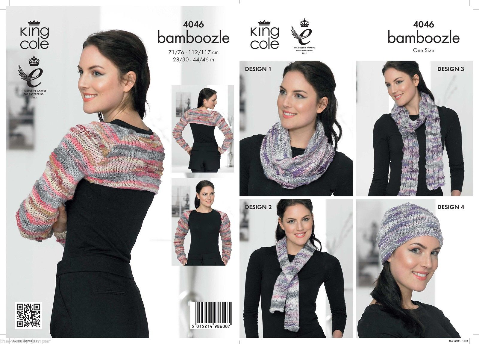 4046 - KING COLE BAMBOOZLE CHUNKY SHRUG HAT SCARF SNOOD KNITTING PATTERN