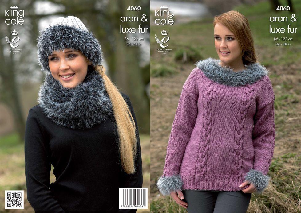 4060 King Cole Merino Aran Luxe Fur Sweater Cowl Hat Knitting