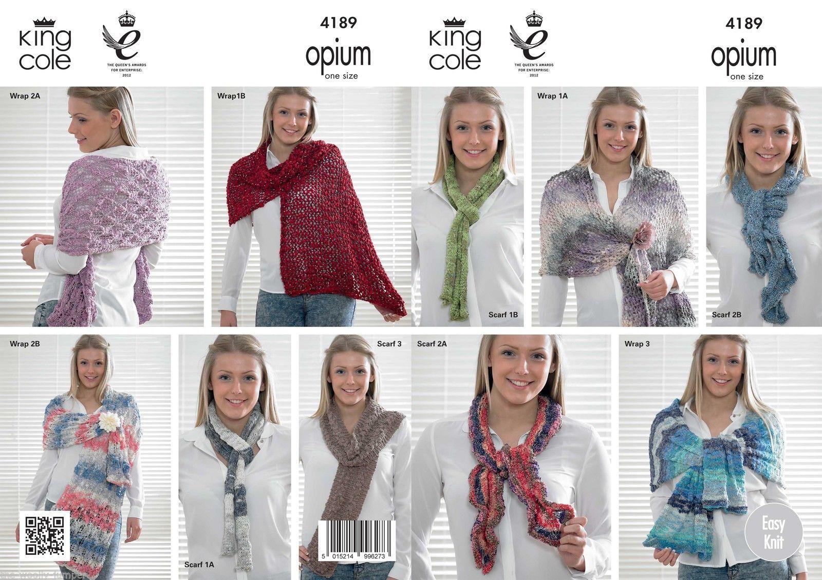 4189 King Cole Opium Ladies Wrap Scarf Knitting Pattern One Size
