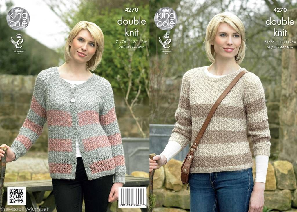 4270 - KING COLE PANACHE DK SWEATER CARDIGAN KNITTING PATTERN - TO ...