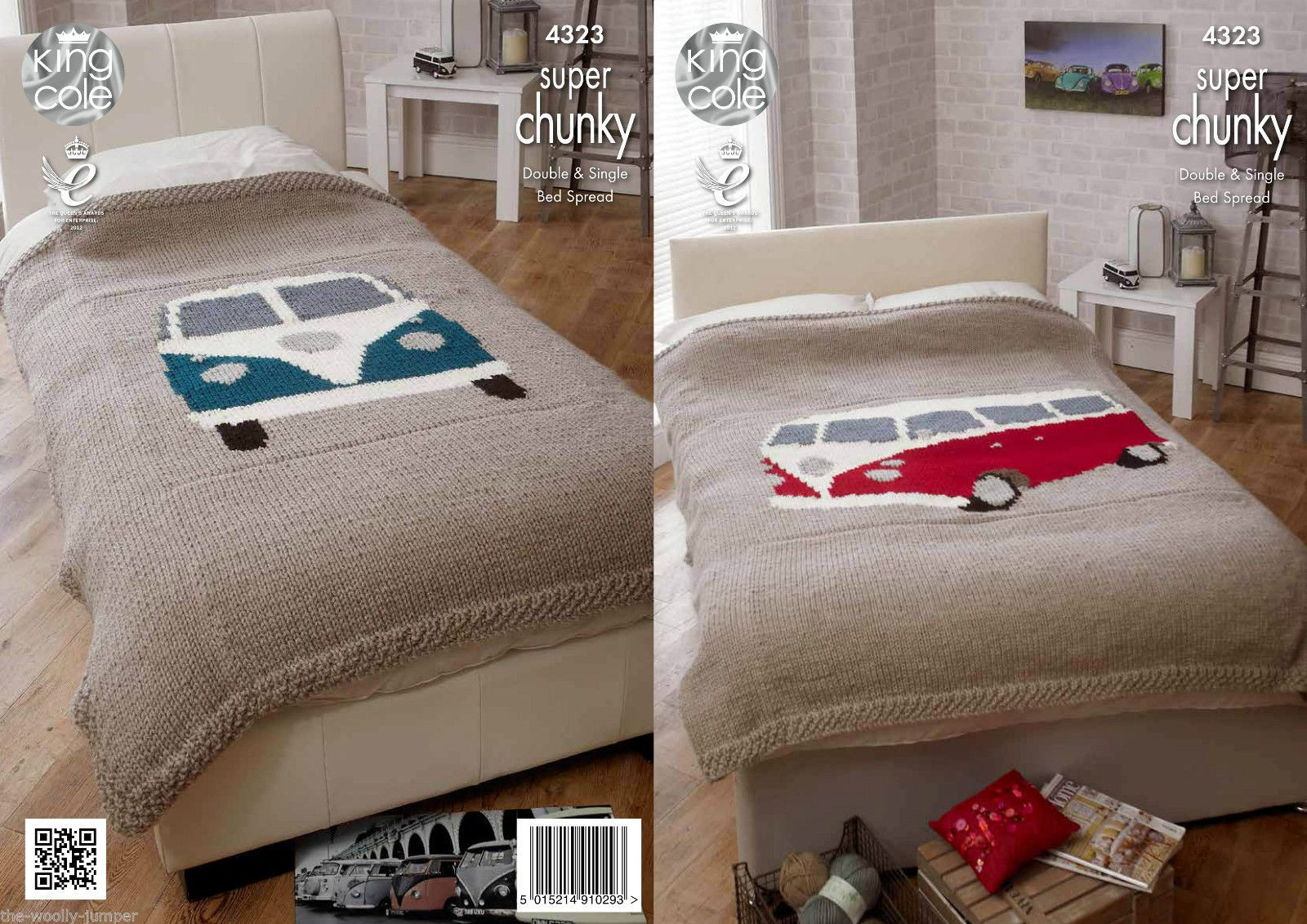 Knitting Patterns For Bed Throws : 4323 - KING COLE VALUE SUPER CHUNKY BED THROW KNITTING PATTERN - SINGLE &...