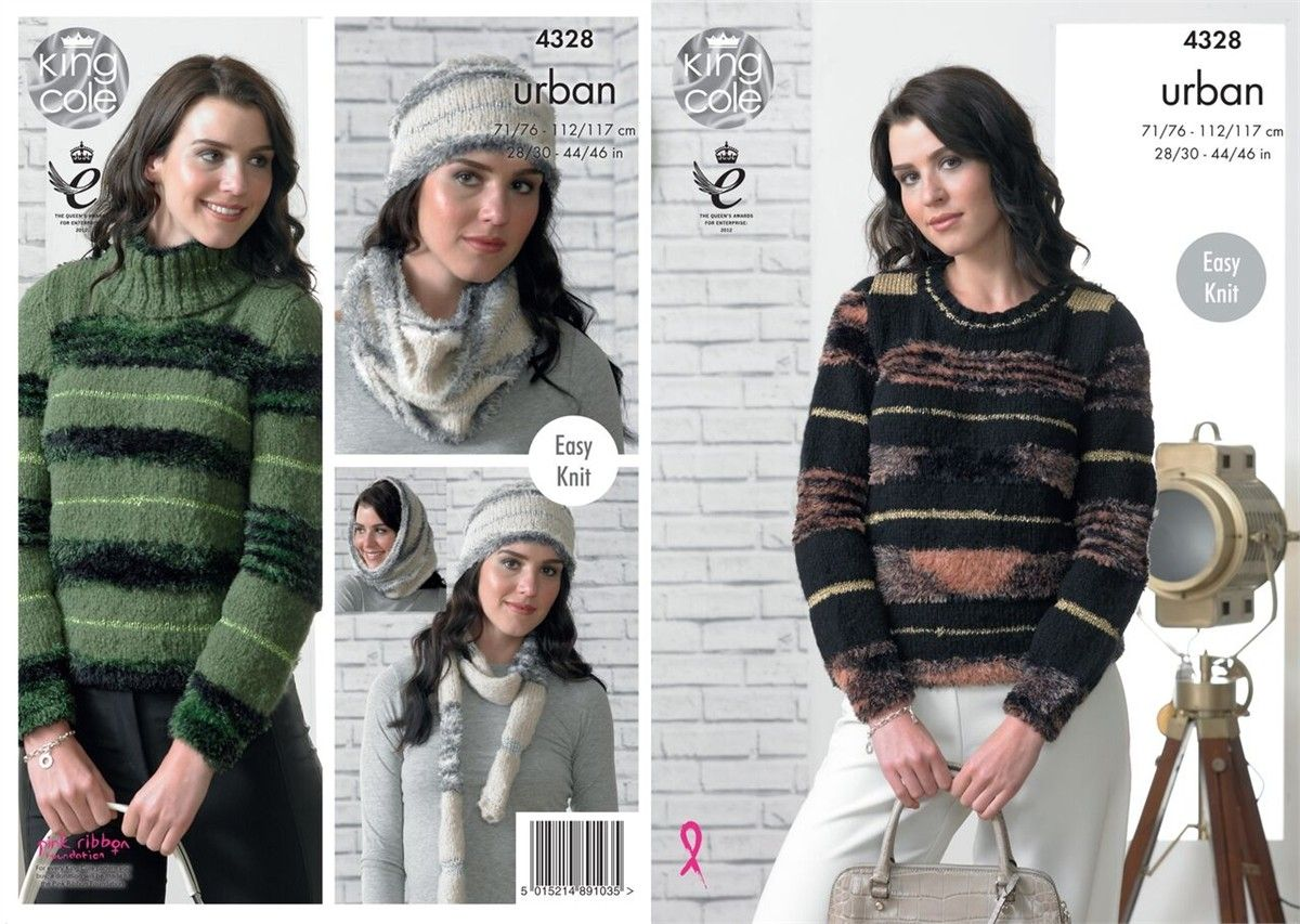 0c332cdfe819c0 4328 - KING COLE URBAN ARAN SWEATER HAT SCARF   COWL KNITTING PATTERN - TO  FIT CHEST SIZE 28 TO 46