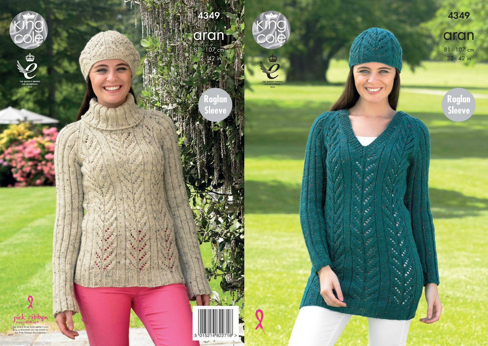 4349 - KING COLE FASHION ARAN SWEATER TUNIC & HAT KNITTING PATTERN ...
