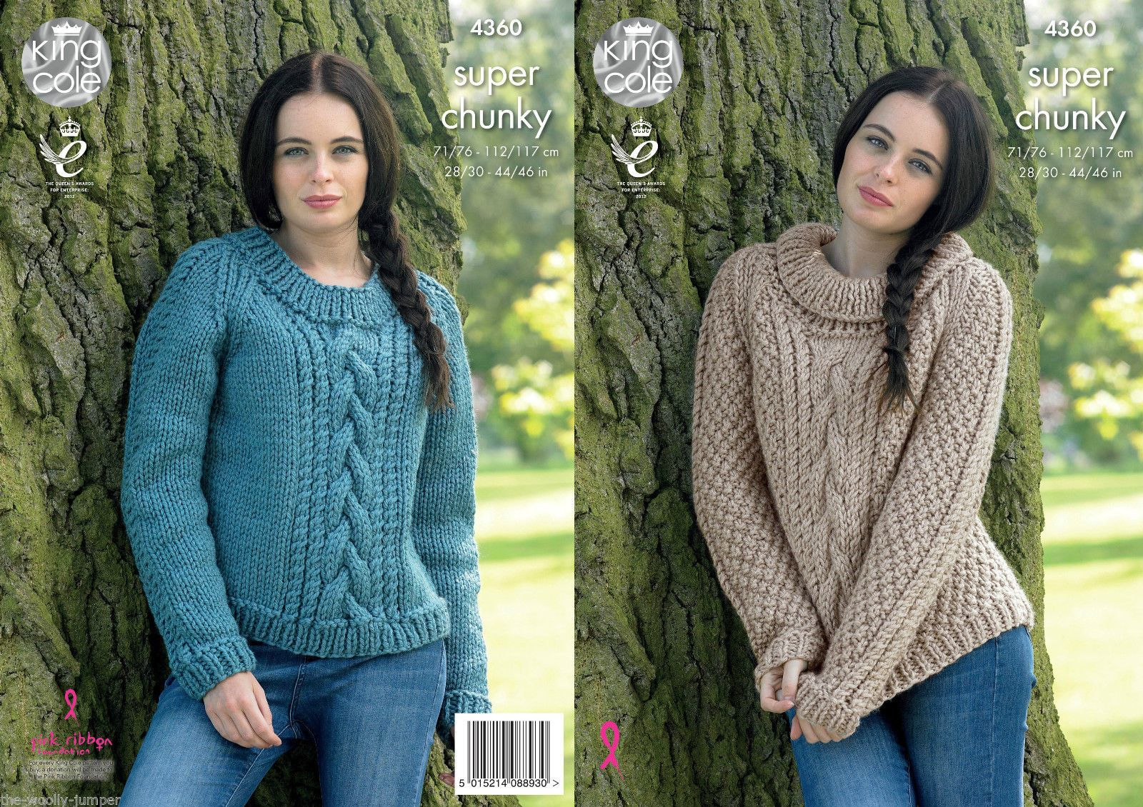 5204c7ecd9812 4360 - KING COLE BIG VALUE SUPER CHUNKY SWEATER KNITTING PATTERN - TO FIT  CHEST 28