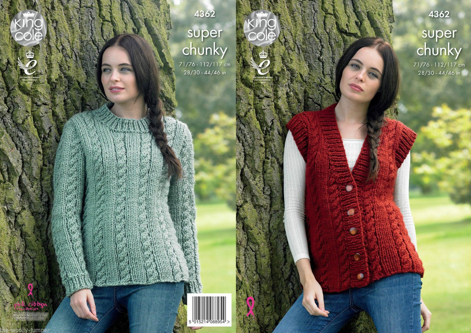 3485a91dfc42 4362 - KING COLE BIG VALUE SUPER CHUNKY SWEATER   WAISTCOAT KNITTING PATTERN  - TO FIT CHEST 28 TO 46