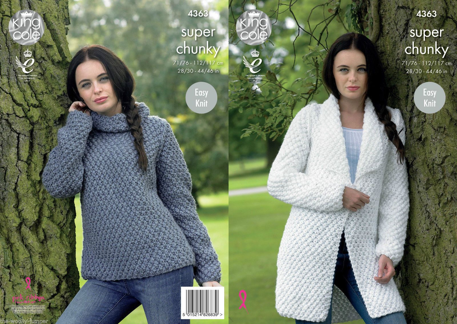 8eca4b792456 4363 - KING COLE BIG VALUE SUPER CHUNKY SWEATER CARDIGAN JACKET KNITTING  PATTERN - TO FIT CHEST 28 TO 46