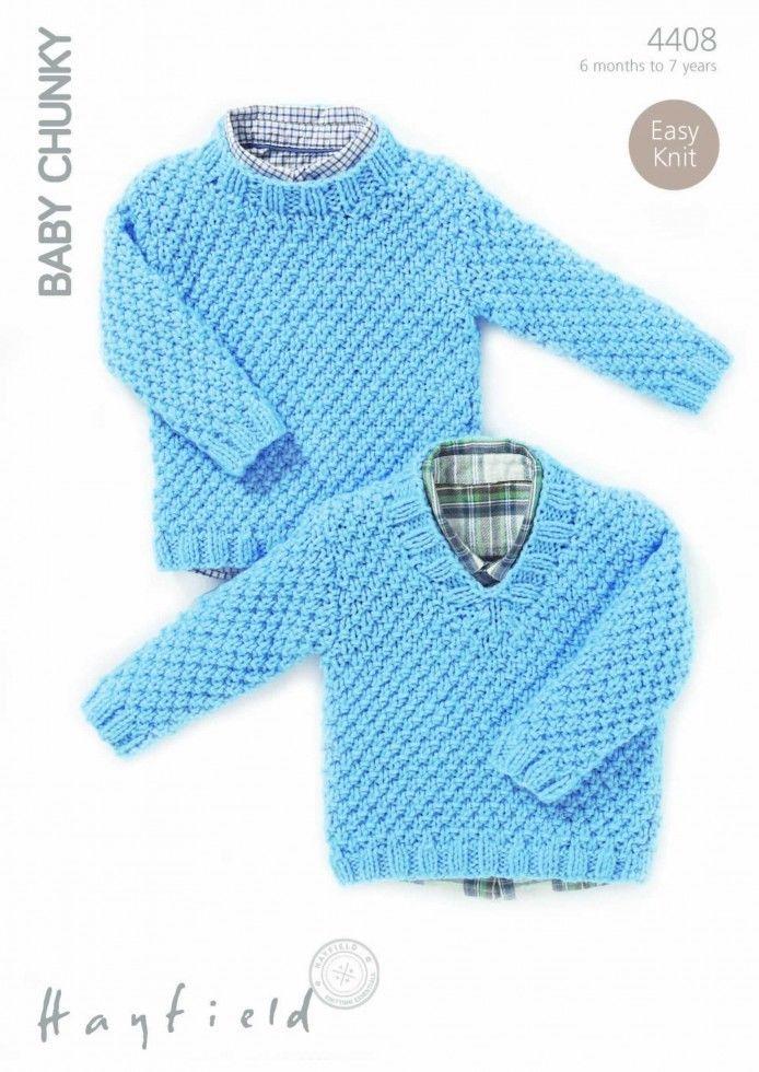 4408 Hayfield Baby Chunky Moss Stitch Sweater Knitting