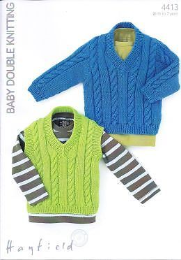 4413 - HAYFIELD BABY DK SWEATER & TANK TOP KNITTING PATTERN - TO FIT 0 TO 7 YEARS