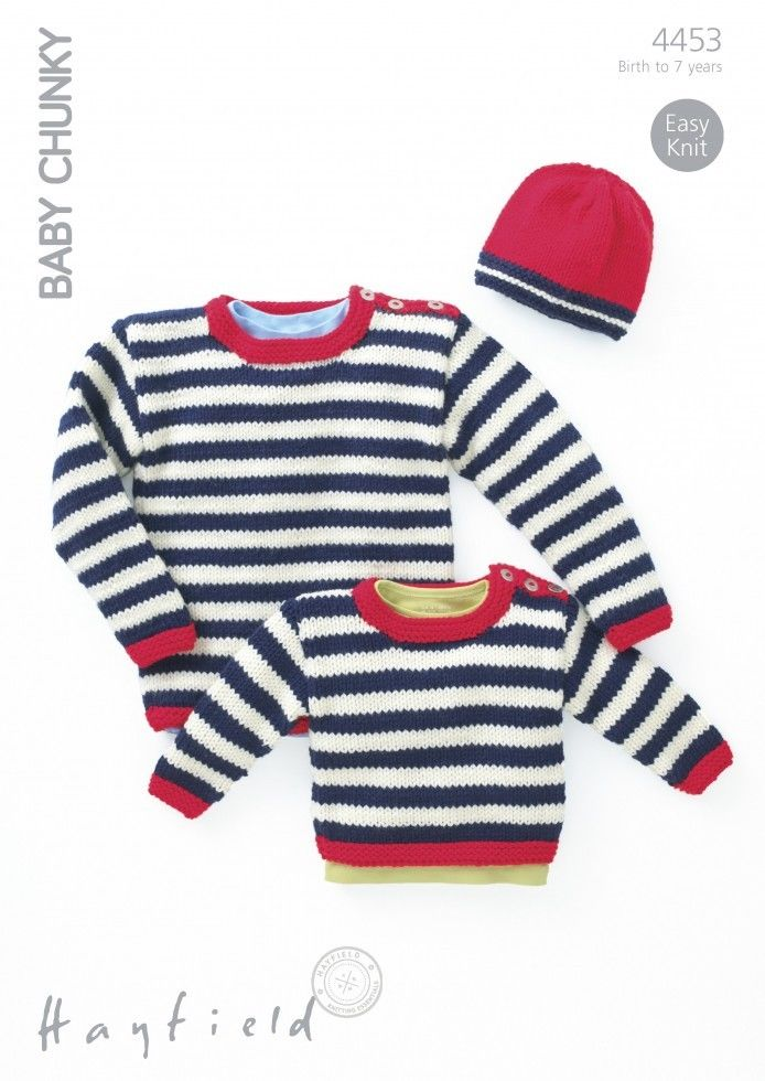 4453 - HAYFIELD BABY CHUNKY STRIPED SWEATER & HAT KNITTING PATTERN ...