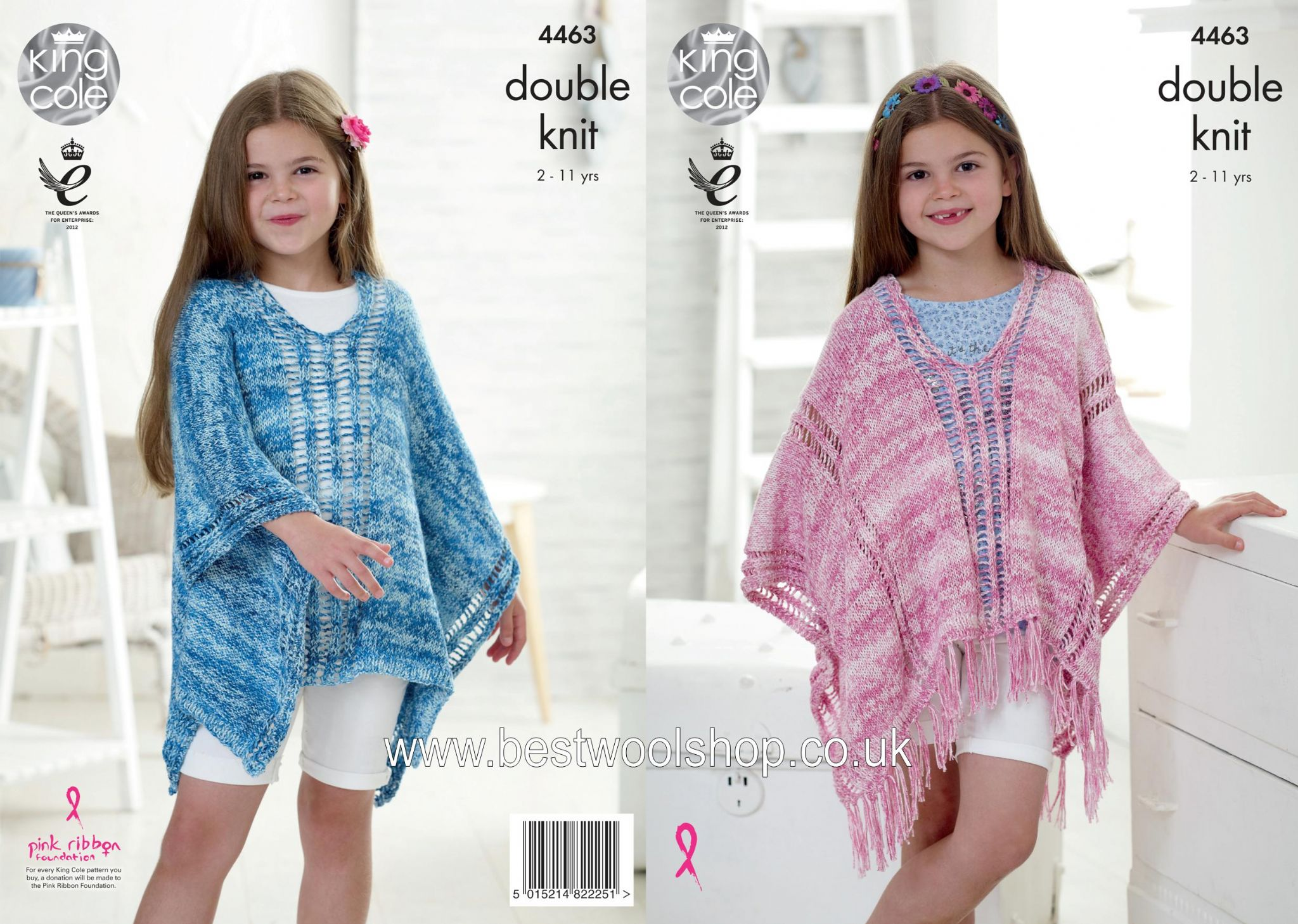 4463 King Cole Vogue Dk Girls Poncho Knitting Pattern
