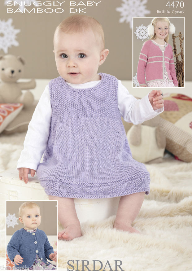 4470 - SIRDAR SNUGGLY BABY BAMBOO DK CARDIGAN & DRESS KNITTING ...