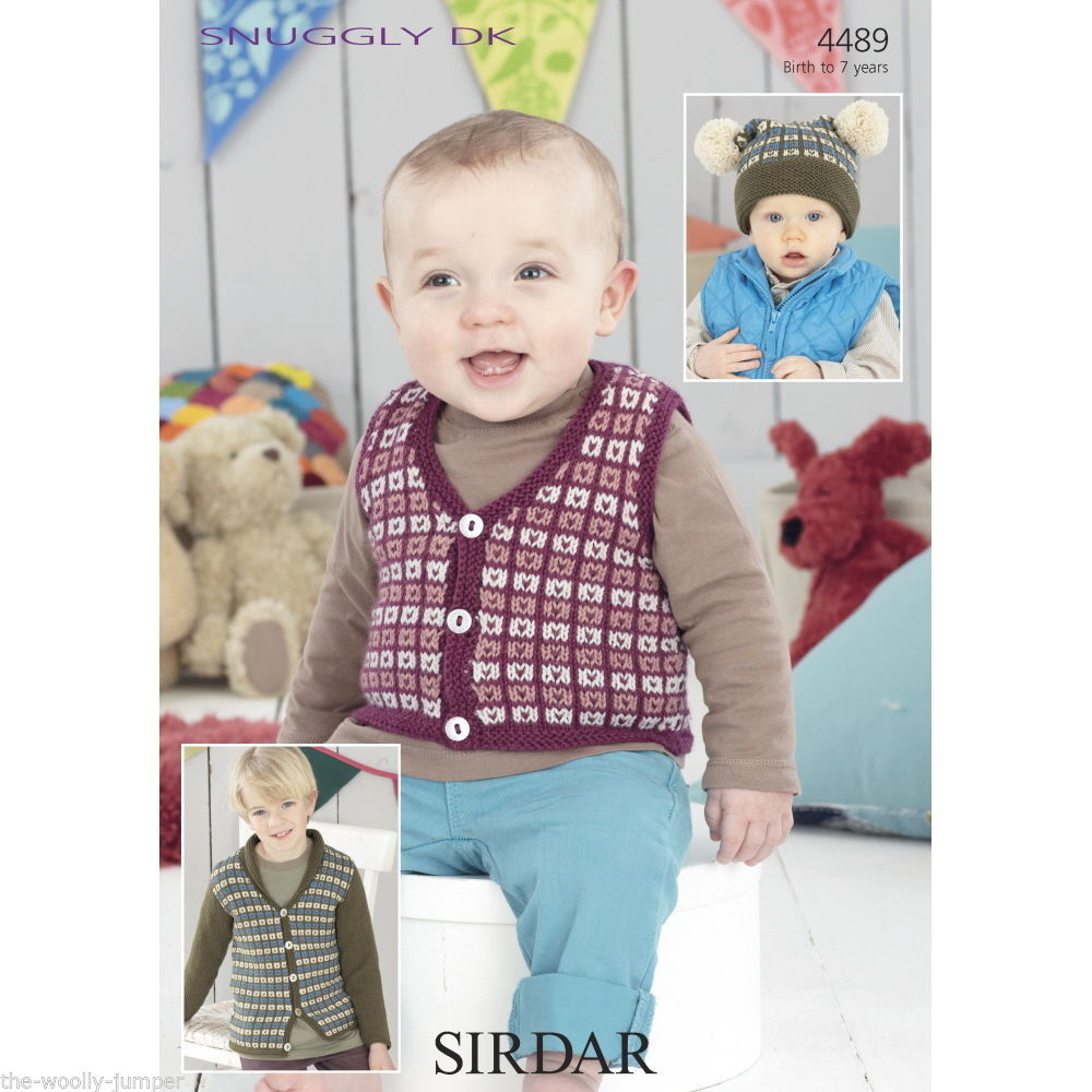 4489 - SIRDAR SNUGGLY DK CARDIGAN WAISTCOAT & TEA BAG HAT WITH POM ...