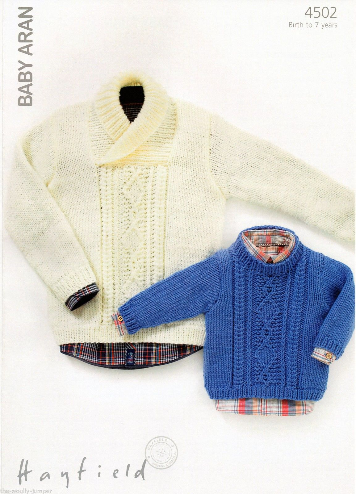 4502 - HAYFIELD BABY ARAN SWEATER KNITTING PATTERN - TO FIT BIRTH TO ...