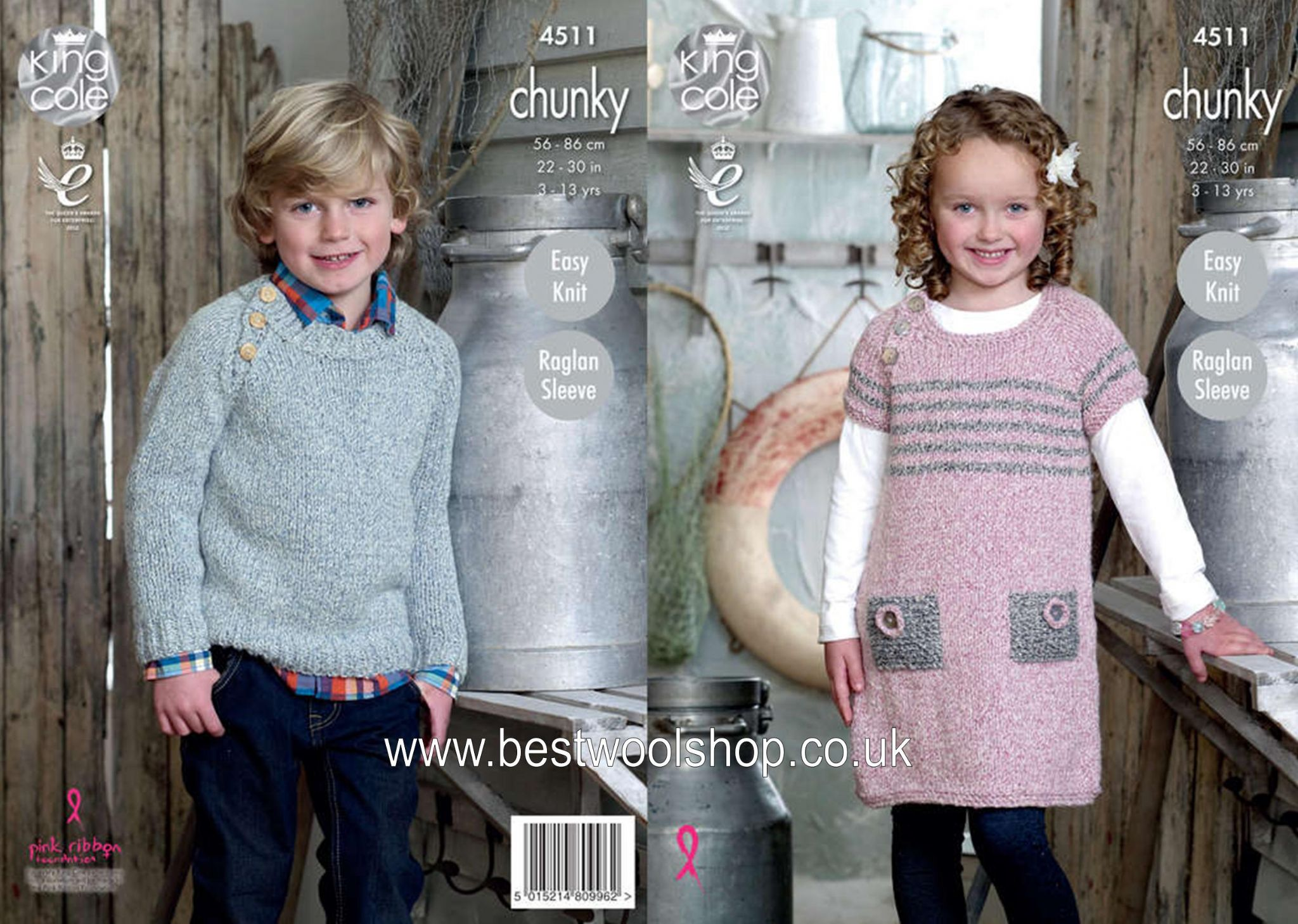 KNITTING PATTERN Girls Easy Knit Round Neck Dress /& Jumper Authentic Chunky 4511