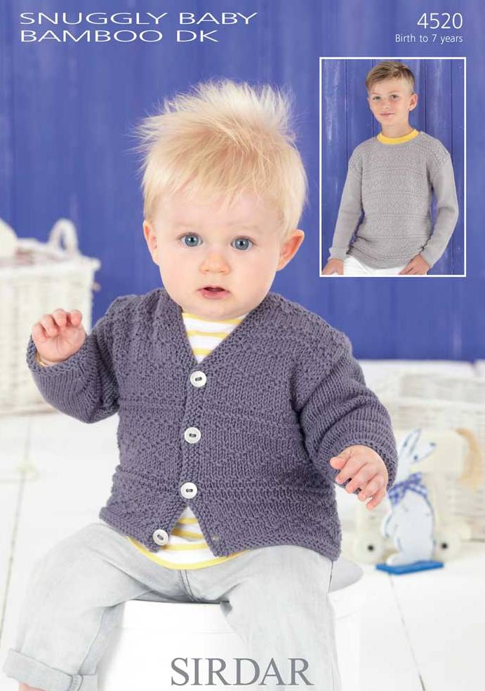 4520 Sirdar Snuggly Baby Bamboo Dk Sweater Amp Cardigan