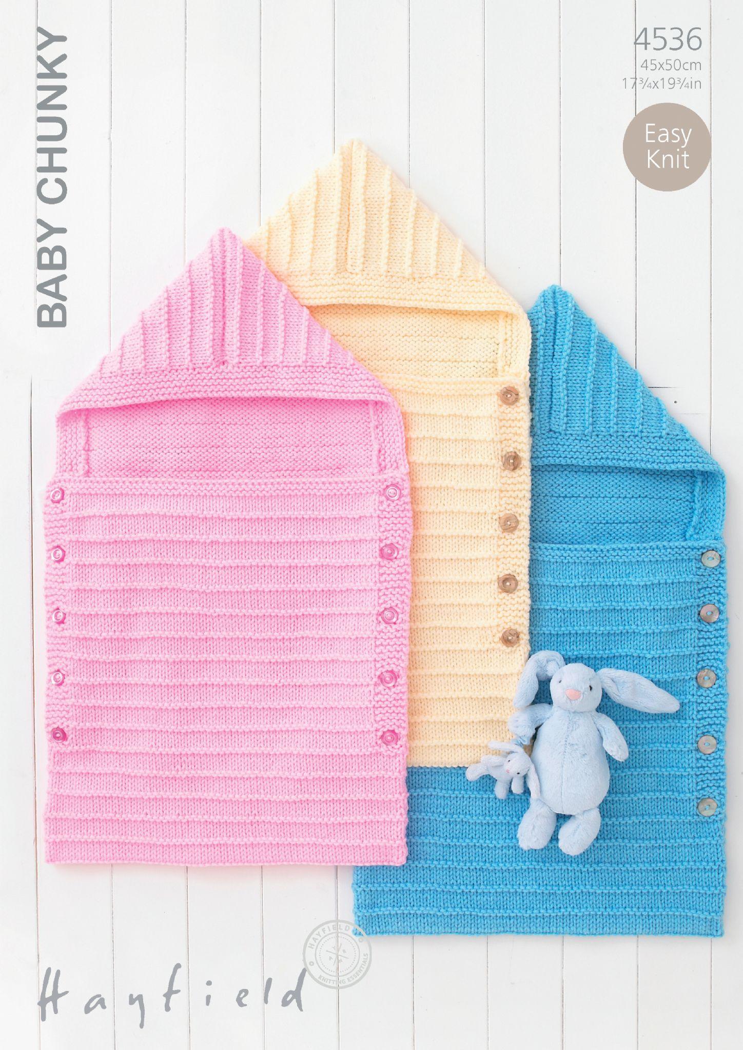 4536 Hayfield Baby Chunky Easy Knit Sleeping Bag Knitting Pattern
