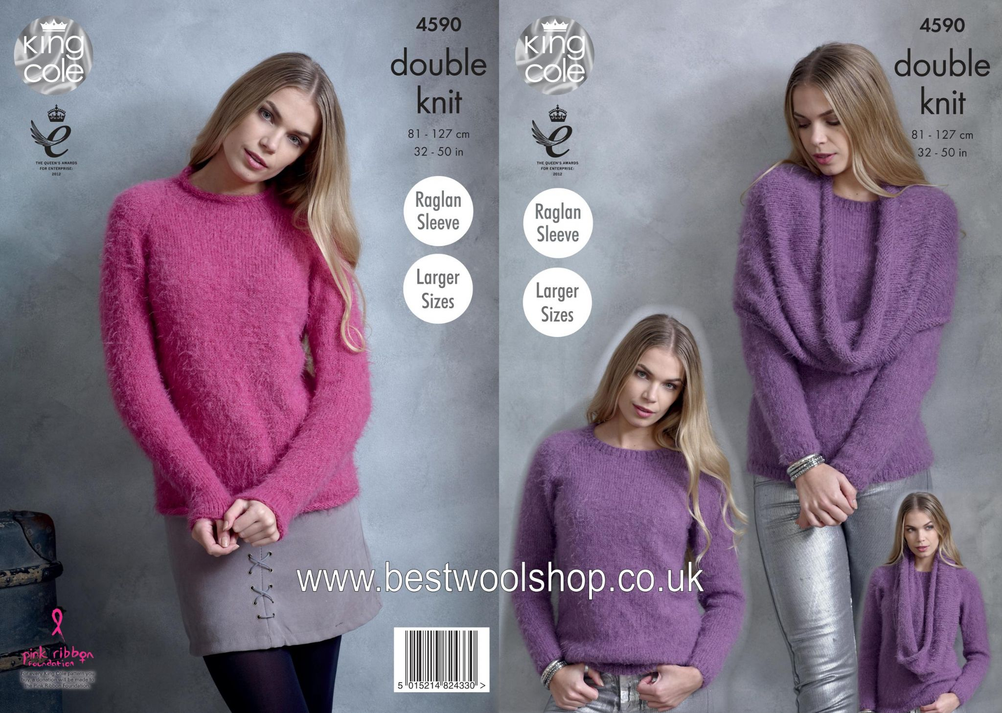 4590 - KING COLE EMBRACE DK PONCHO SNOOD ROUND & HIGH NECK SWEATER ...
