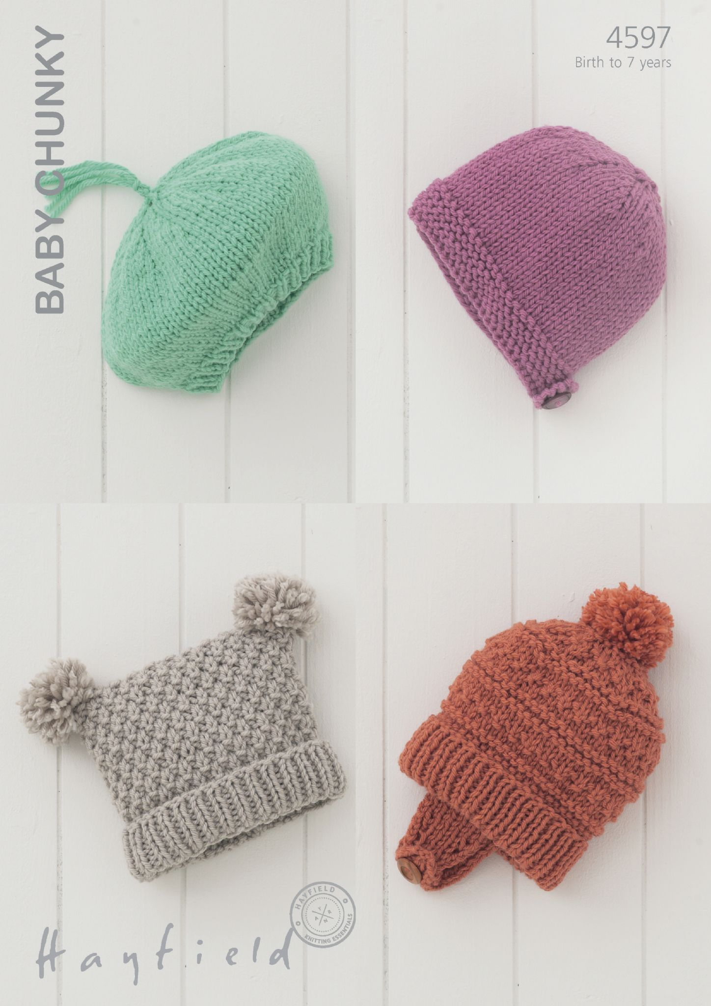 4597 - HAYFIELD BABY CHUNKY BERET HELMET TEA BAG HAT KNITTING ...