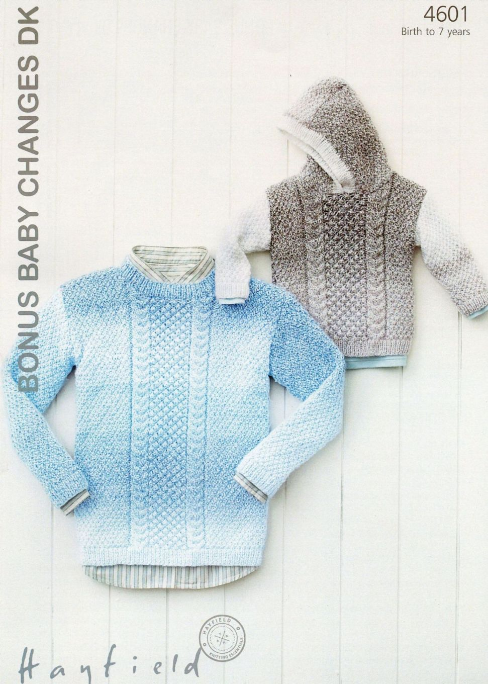 Hayfield Knitting Patterns For Babies : 4601 - HAYFIELD BONUS BABY CHANGES DK SWEATER KNITTING PATTERN -TO FIT BIRTH ...