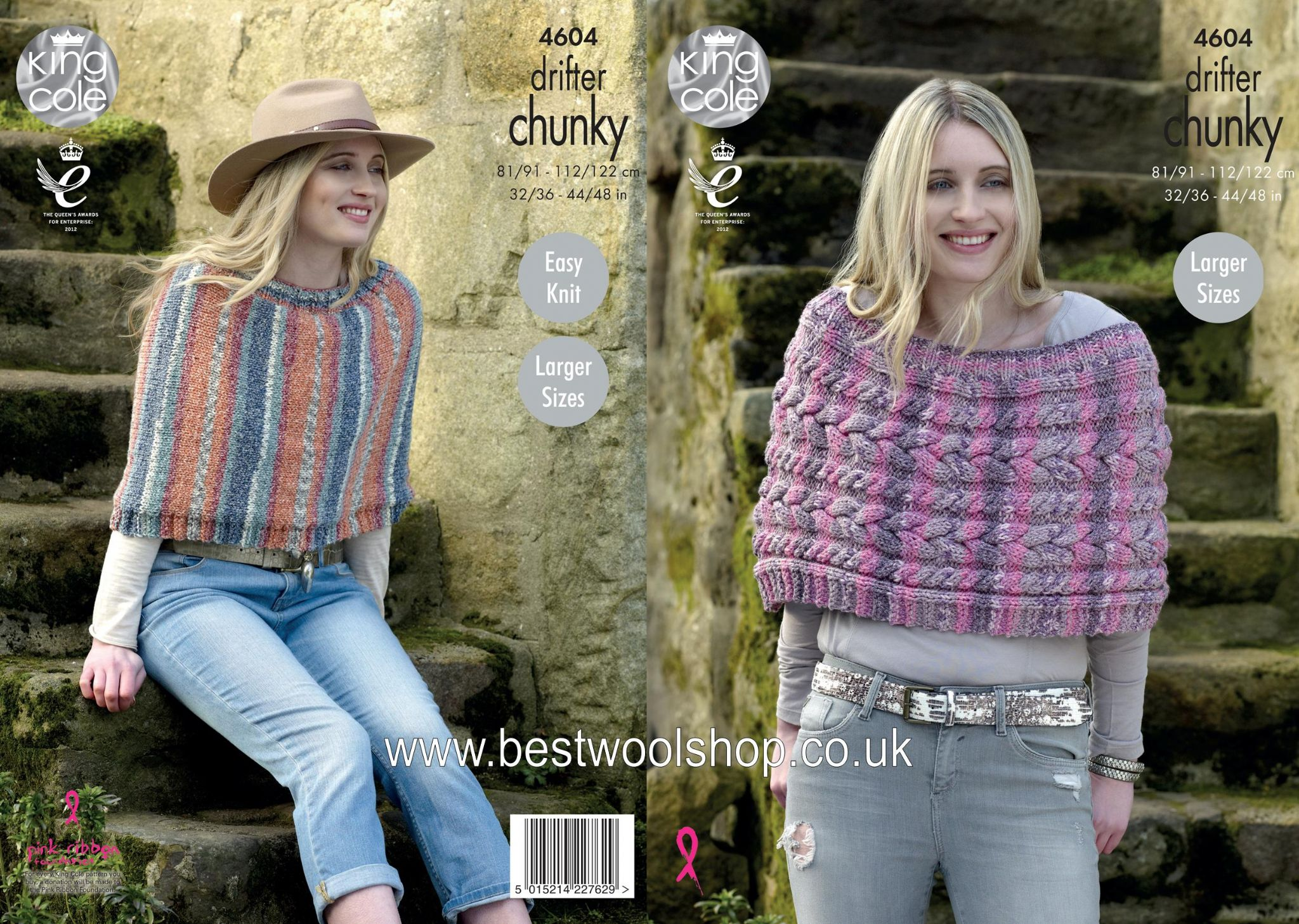 4604 - KING COLE DRIFTER CHUNKY EASY KNIT PLAIN OR CABLED CAPE ...