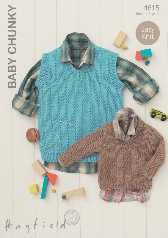 4615 - HAYFIELD BABY CHUNKY EASY KNIT SWEATER & TANK TOP ...