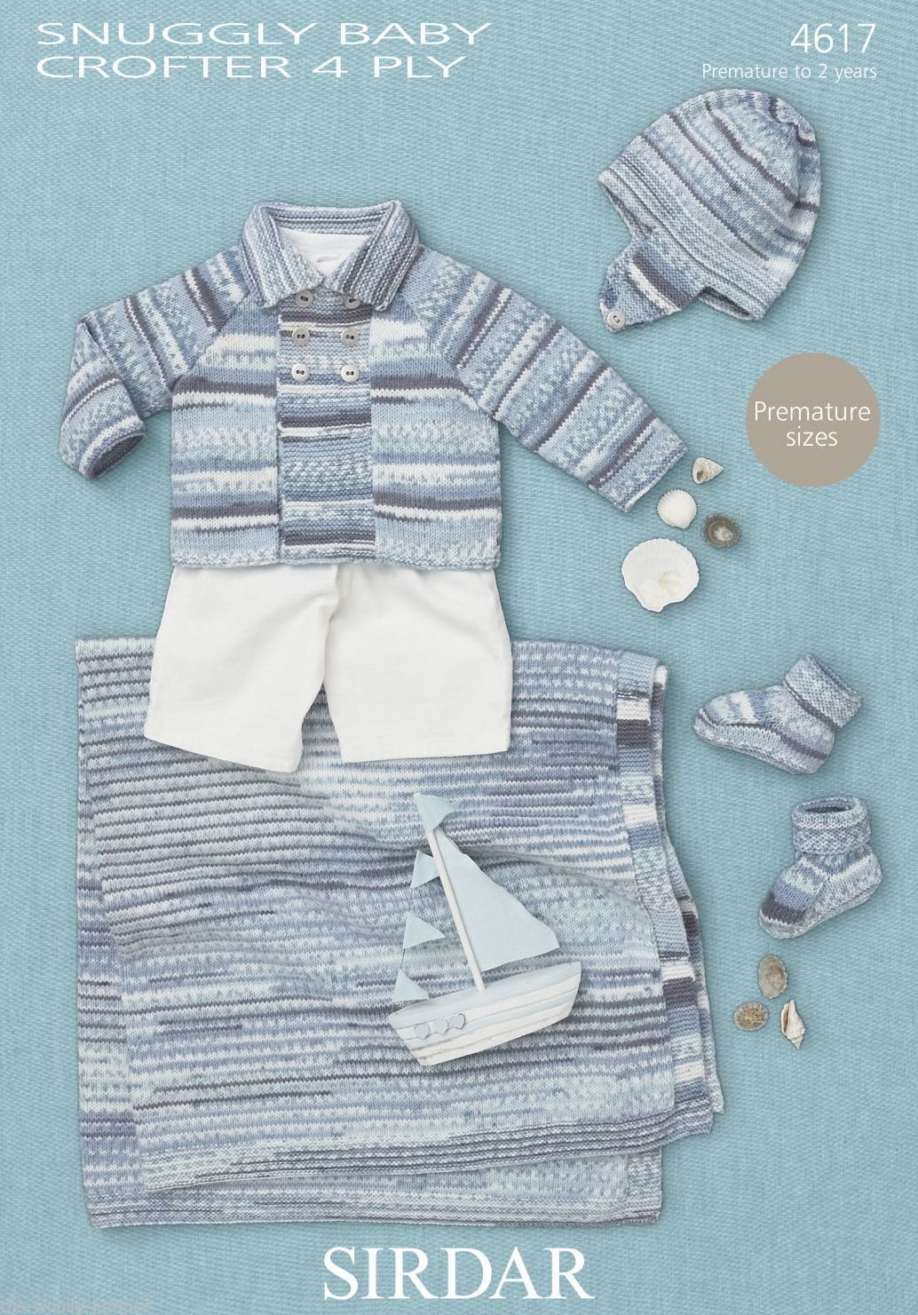 Sirdar 4 Ply Baby Knitting Patterns : 4617 - SIRDAR SNUGGLY BABY CROFTER 4 PLY COAT HAT BOOTEES BLANKET KNITTING PA...