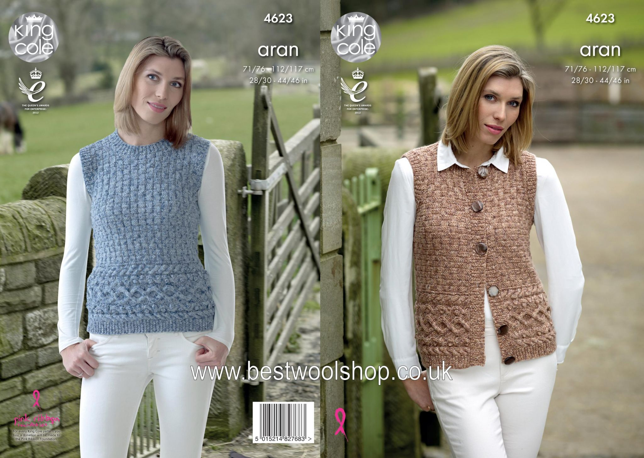 4623 - KING COLE FASHION ARAN COMBO WAISTCOAT & TANK TOP SLEEVELESS ...