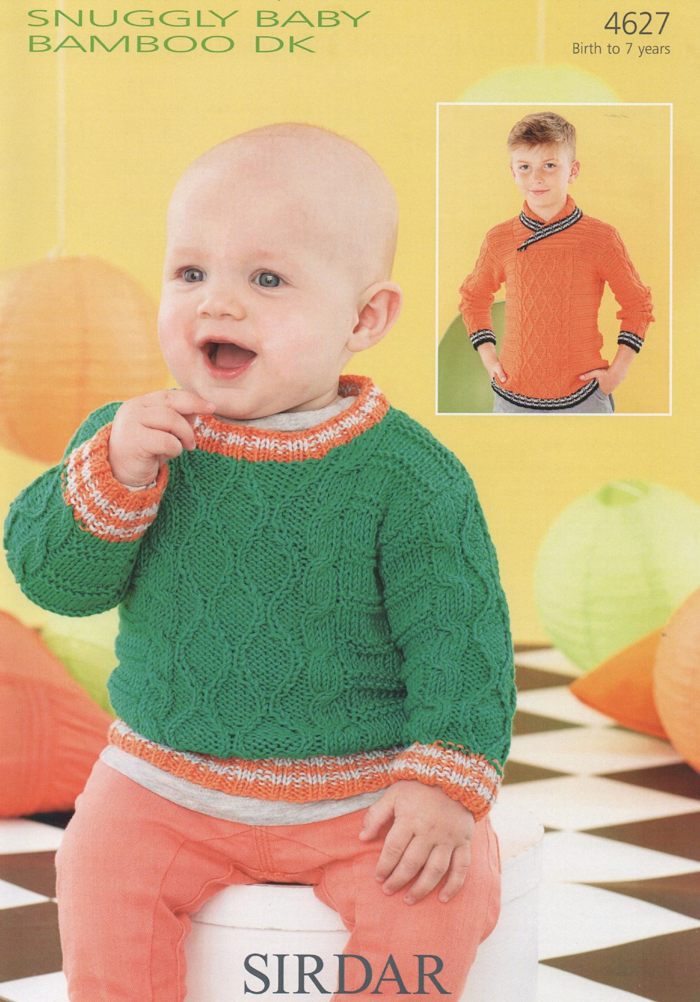 4627 - SIRDAR SNUGGLY BABY BAMBOO DK SWEATER KNITTING PATTERN - TO ...