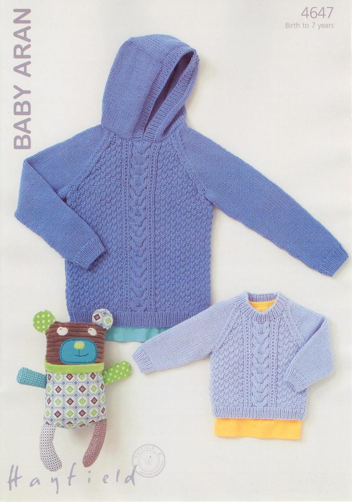 4647 - HAYFIELD BABY ARAN ROUND NECK & HOODED SWEATER KNITTING ...
