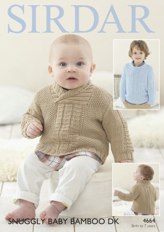4664 - SIRDAR SNUGGLY BABY BAMBOO DK SWEATER KNITTING PATTERN - TO ...