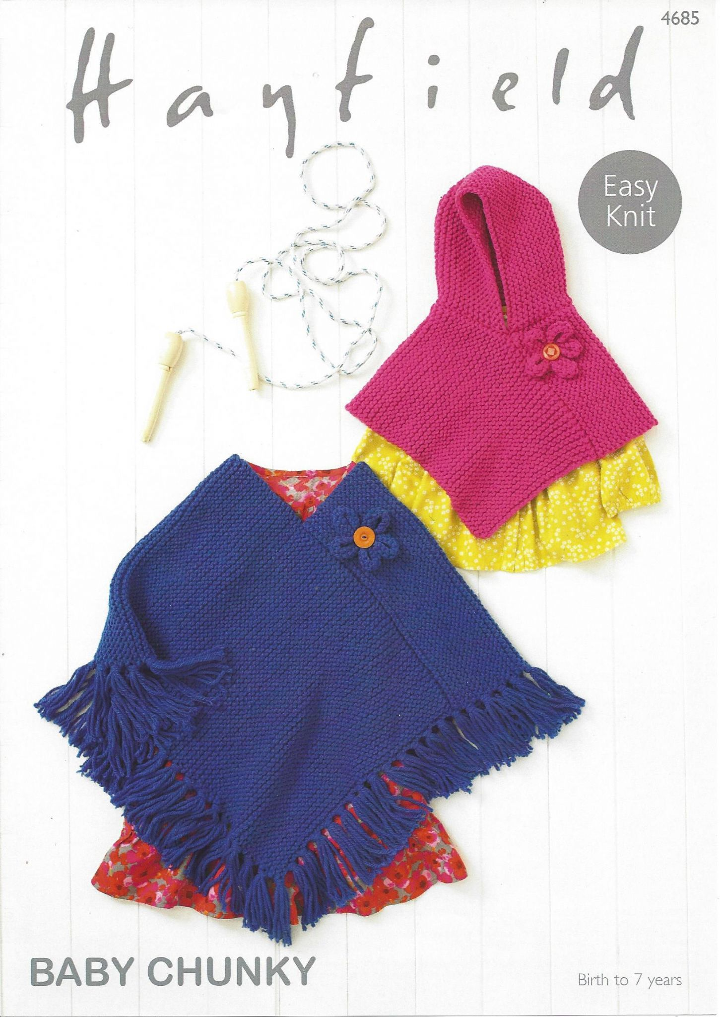 4685 - HAYFIELD BABY CHUNKY EASY KNIT PONCHO KNITTING PATTERN - TO ...