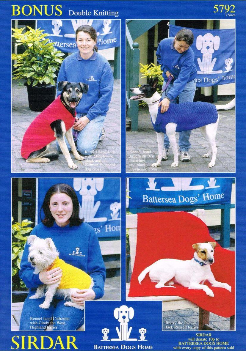 Battersea Dog Blanket Knitting Pattern : 5792 - SIRDAR BONUS DK BATTERSEA DOGS HOME DOG BLANKET & COAT KNITTING PA...