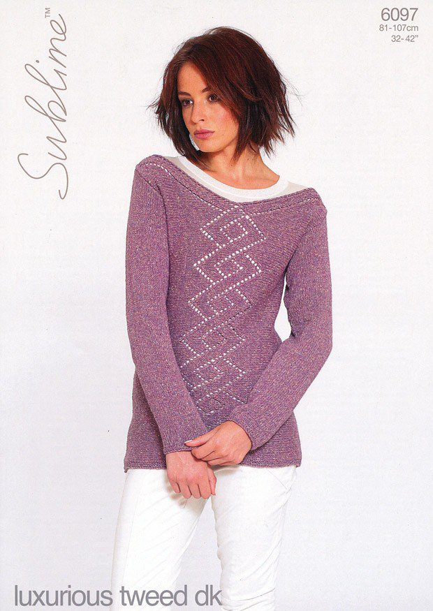 6097 Sublime Luxurious Tweed Dk Sweater Knitting Pattern To Fit
