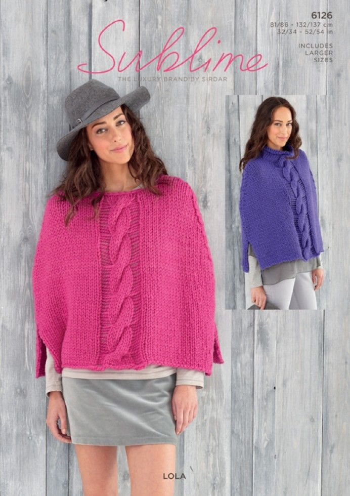 6126 Sublime Lola Super Chunky Poncho Knitting Pattern To Fit 32