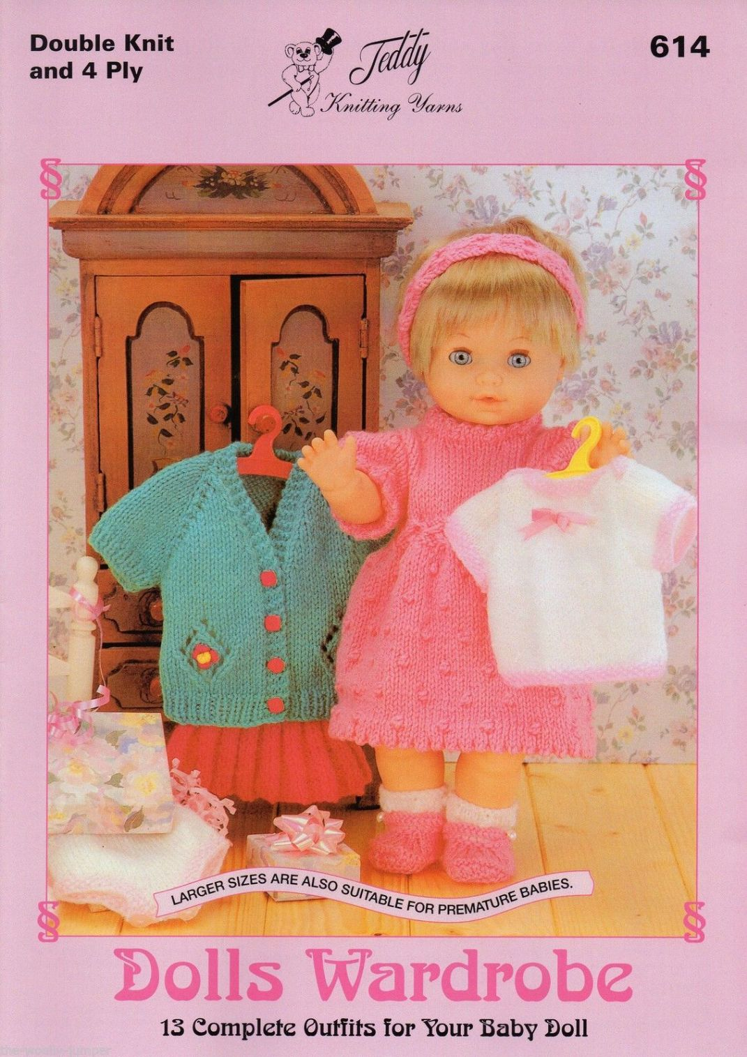 614 - DOLLS WARDROBE - 13 OUTFITS DK & 4 PLY KNITTING PATTERN BOOKLET
