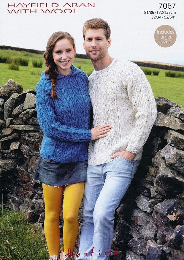 7067 Hayfield Aran With Wool Hooded Sweater Knitting