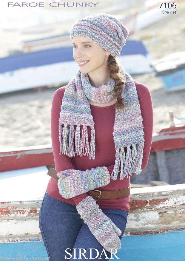 7106 Sirdar Faroe Chunky Ladies Scarf Mittens Hat Knitting Pattern