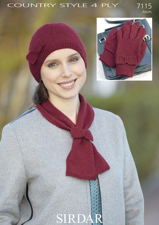 7115 - SIRDAR COUNTRY STYLE 4 PLY HAT GLOVES & SCARF KNITTING ...