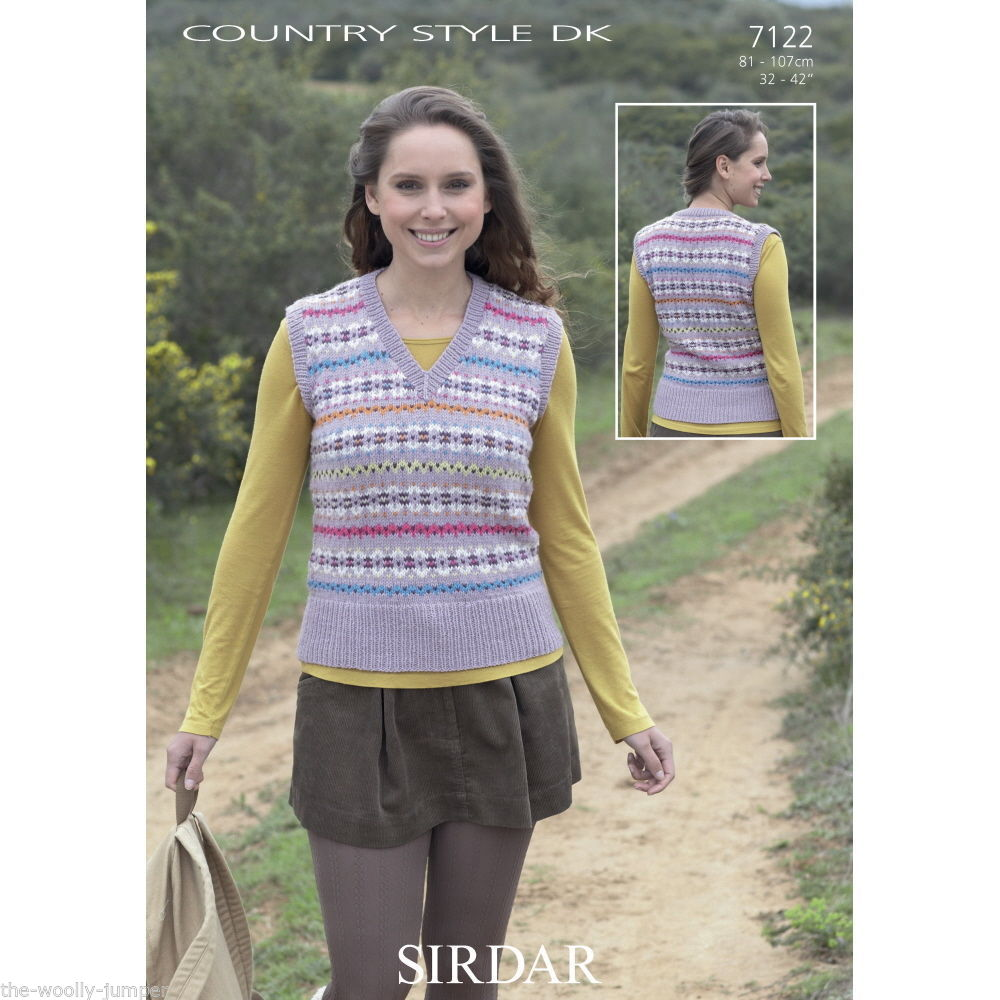 7122 - SIRDAR COUNTRY STYLE DK FAIRISLE STYLE TANK TOP KNITTING ...